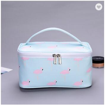 Hanging Big Polyester Canvas PU Leather Custom Travel Toiletry Makeup Cosmetic Bags