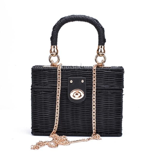 7e42ea76ba24 New Rattan Black Straw Shoulder Bag Women Hand Woven Messenger Bag Summer  Beach Square Box Straw