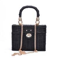 New rattan black straw Shoulder Bag Women hand woven Messenger Bag Summer Beach Square box Straw Handbag For lady Bolsa Feminina