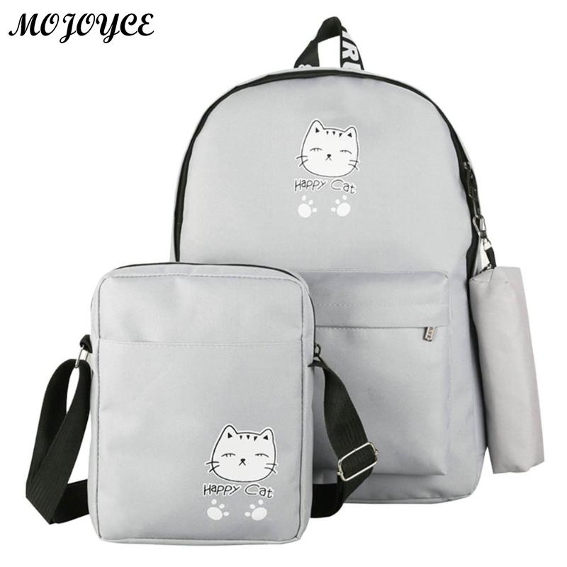 3 Pcs/Set Backpack Cartoon Cat Print Canvas Backpack Summer Travel Shoulder Schoolbag For Teenager Girls