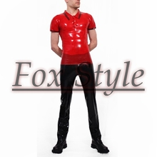 Free shipping latex polo shirt+jeans Men's sets