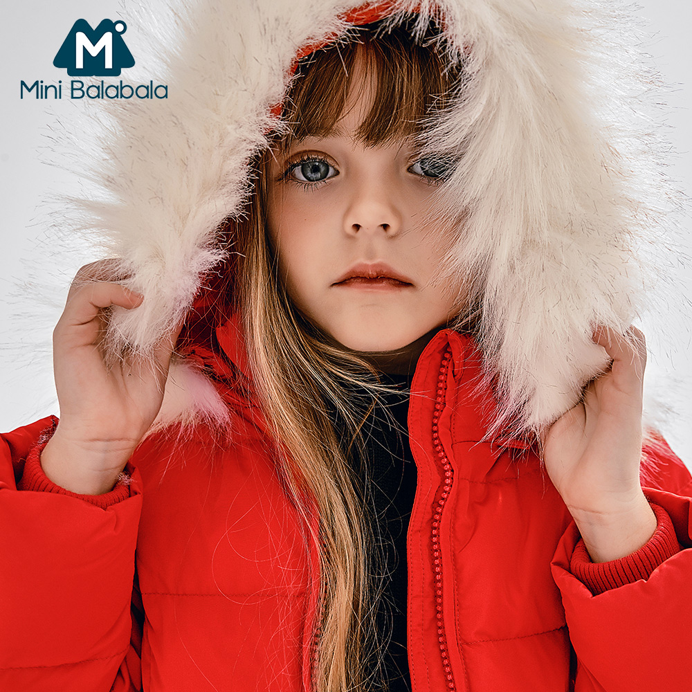 Mini Balabala Kids Toddler Girls Frost free Long Jackets Detachable Hood with Faux fur Trim Down