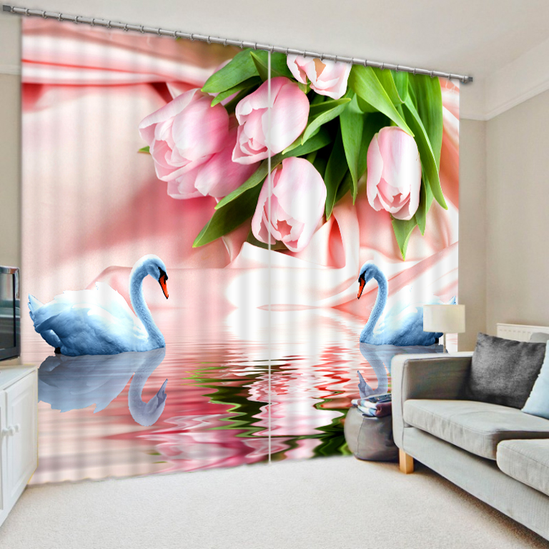 European Style Top Quality  Fashion 3D Home Decor Beautiful pink flower lily 3D Window Curtains For Bedding room European Style Top Quality  Fashion 3D Home Decor Beautiful pink flower lily 3D Window Curtains For Bedding room