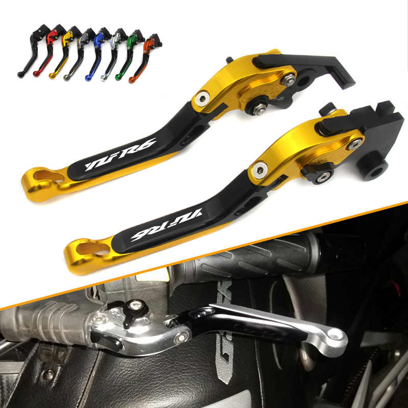For Yamaha YZF R6 1999 2000 2001 2002 2003 2004 With Logo(YZF R6) Gold+black New CNC Adjustable Motorcycle Brake Clutch Levers