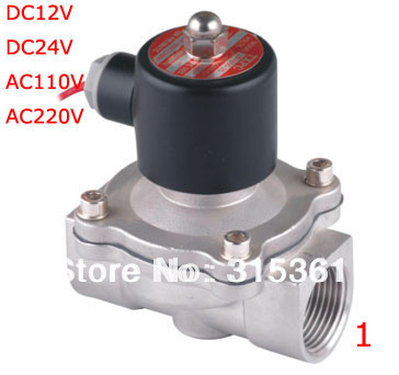 Free Shipping Solenoid Valve 1'' SS Valve Air Water Gas Diesel Stainless Steel & Viton 2S250-25 DC12V,DC24V,AC110V or AC220V free shipping 1 stainless steel normally open valve water acid solenoid valves oil acid viton dc12v dc24v ac110v or ac220v