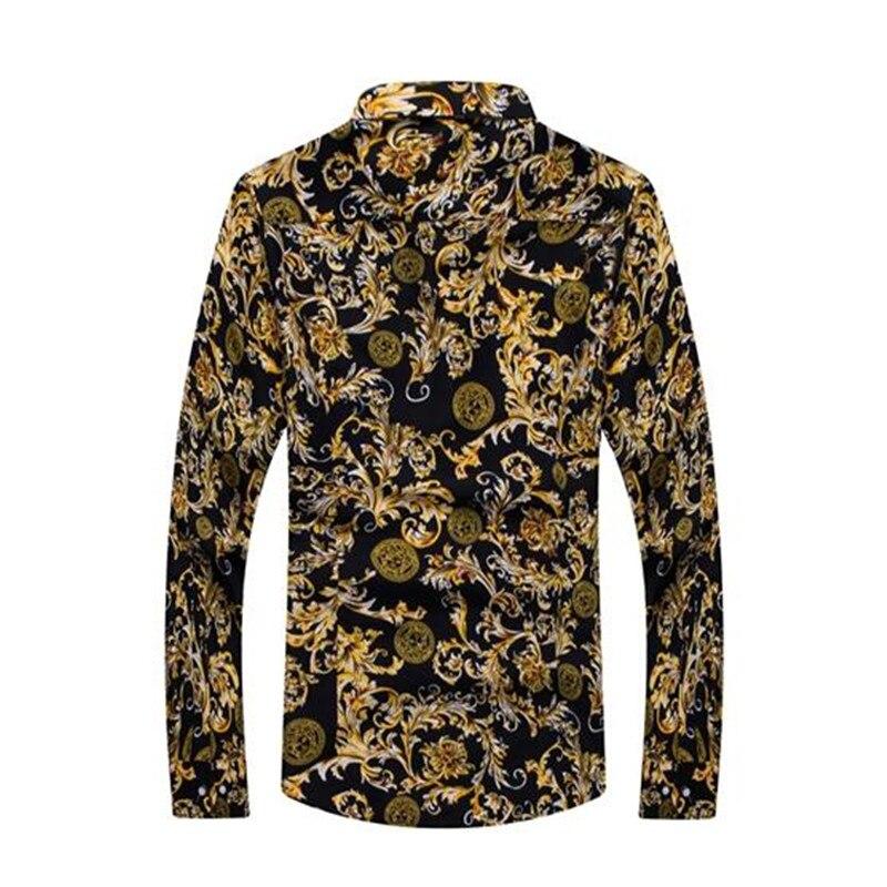 2019 New Fashion Men Shirts Slim Fit Male Flower Shirt Casual Long Sleeved Hawaiian Shirt Men Clothes Plus Size