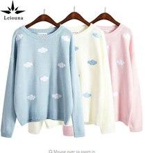 Leiouna 2017 Sweaters Spring Korean New Winter Style Coats Kawaii Harajuku Cute 3D Clouds Oversized Long Women Pullover Warm