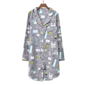 Image 3 - Daeyard 100% כותנה כתונת לילה נשים אביב כותונת ארוכת חמוד Cartoon לילה שמלה בתוספת גודל הלבשת רך מזדמן בגדי בית
