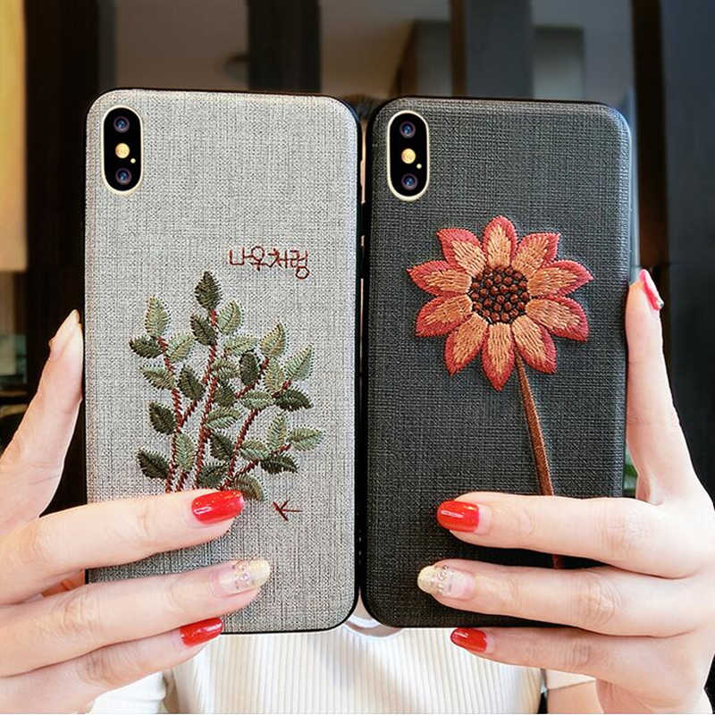 d57177c9 BINYEAE Handmade Embroidery Case For iPhone X XR XS Max Case 3D Vintage  Flower Leaves Fabric Soft Cover For iPhone 6 6S 7 8 Plus