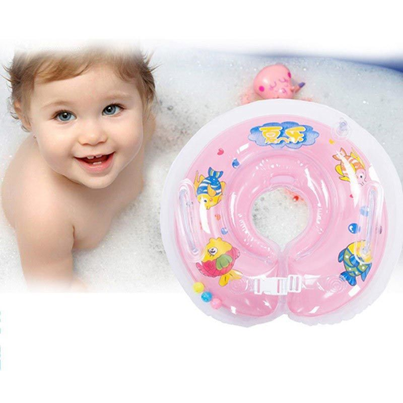Inflatable swimming baby accessories swim neck ring baby Tube Ring Adjustable Safety infant kids neck float circle for bathing