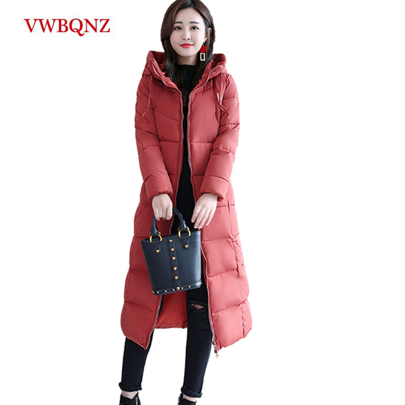2018 Women Winter Jacket Plus Size 4XL Womens   Parkas   Thicken long Outerwear hooded Coats Female Slim Cotton padded basic tops