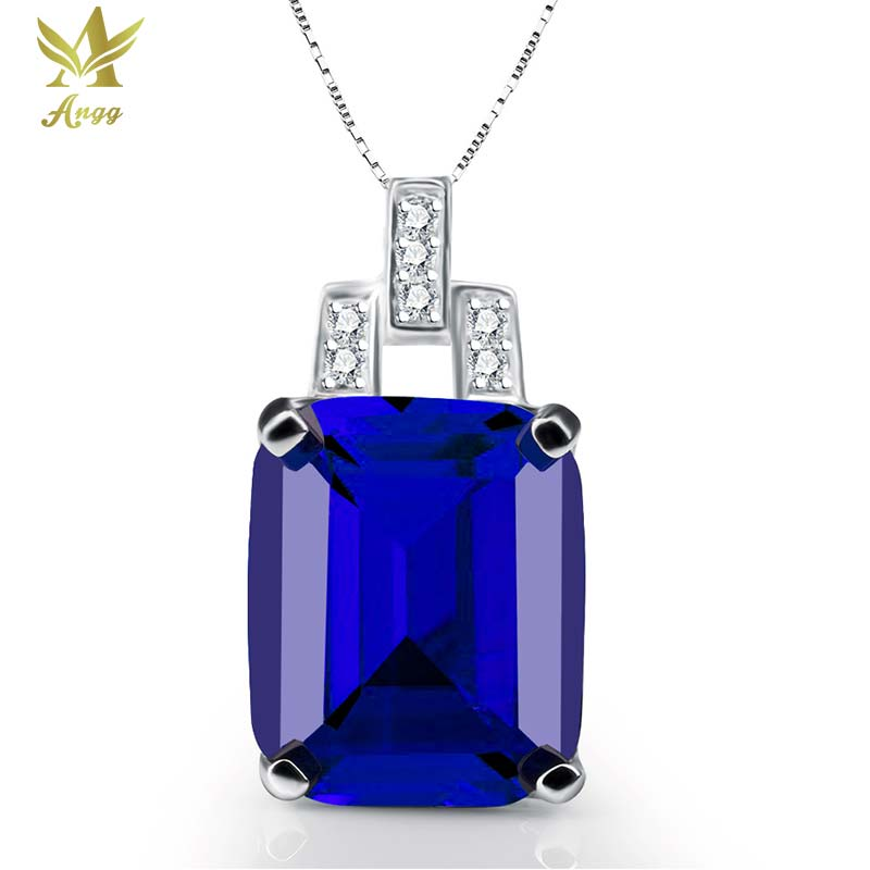 Classical 9.4ct Big Genuine 925 Sterling Silver Square Cuts Pendant Wedding & Engagement Jewelry Pendant