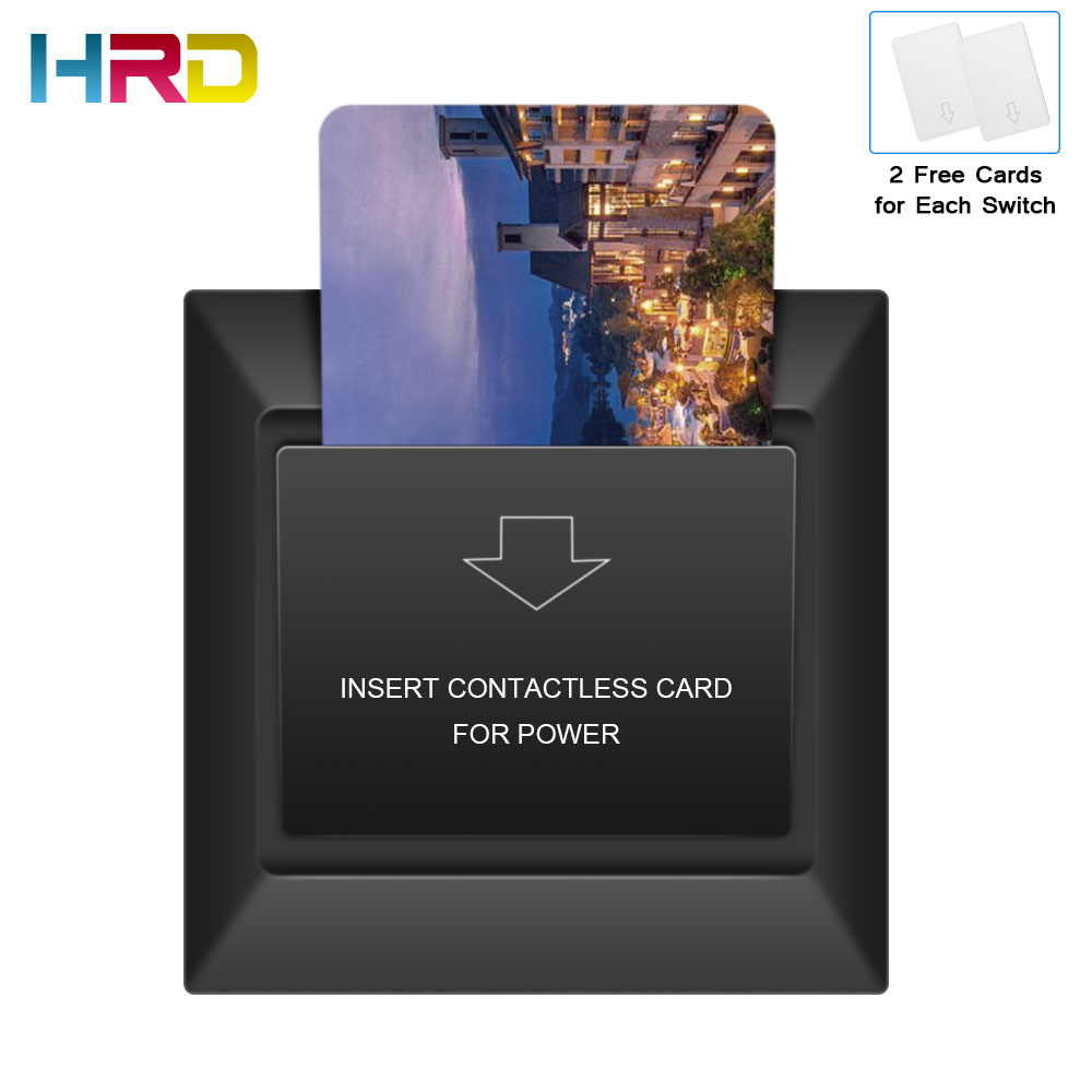 NEW Black Hotel Card Switch 13.56MHz Mifare S50 F08 14443a 180~250V 30A Insert Card To Take Power Rfid Card Hotel Switch