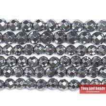 Perline di ematite placcate argento opaco sfaccettato pietra naturale 4 6 8 10 MM 15