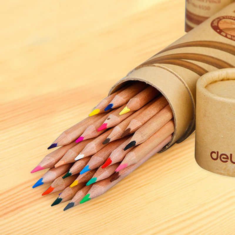 12/18/24 Warna Alam Kayu Warna Pensil untuk Menggambar Pensil Warna Pack Colores Profesionales Perlengkapan Sekolah