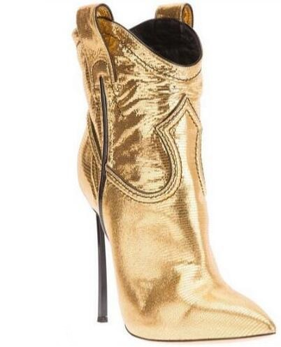 Lizard Stripe Women Boot Sexy High Heel Boots Pointed Toe 120MM Gold Metal Heel Short Boots Spring Winter Dress Shoes Size 10