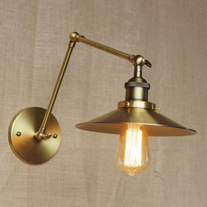 Industrial Metal Classic Bronze Mechanical Swing Arm Adjustable Wall Lamp Wall Lighting For