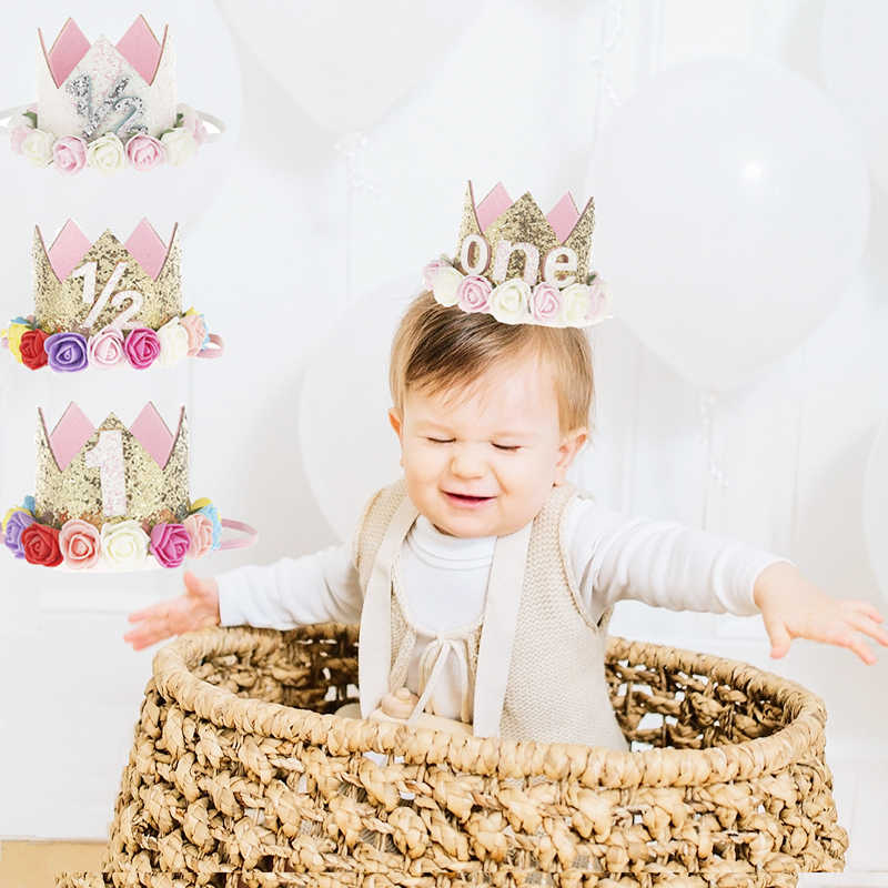 1PC Baby Girl Happy Birthday Party Hats Kids One Year Flower Princess Crown Headband Shower