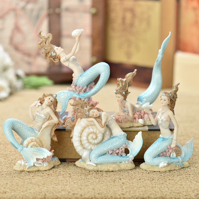 Résine créative mignon sirène princesse Figurine résine artisanat décor ornement Art ameublement décoration artisanat cadeau d'anniversaire