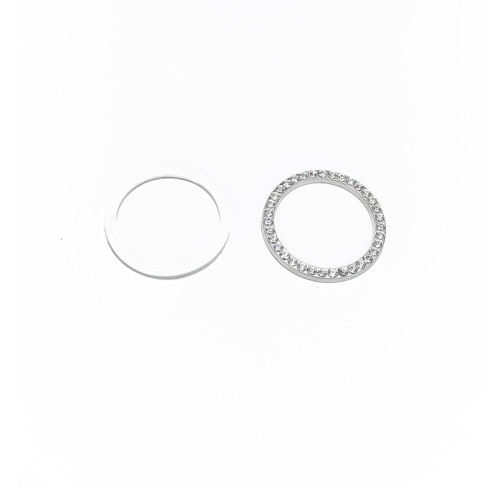 Car SUV Silver Decorative Accessories Start Button Switch Diamond Ring Circles