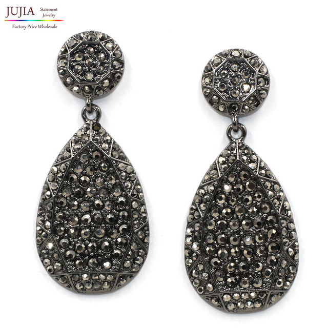 2017 New Fashion Women Statement Design Black Crystal Stud Earrings For Earring