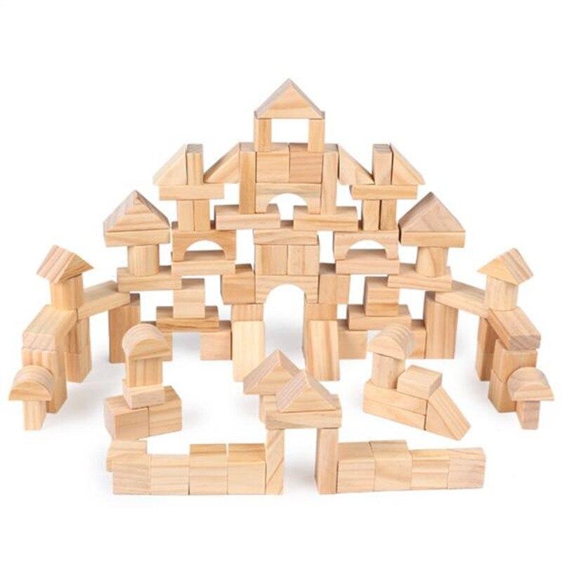 100 pièces bois naturel jouets en bois constructeur géométrie construction blocs en bois jouets éducatifs pour enfants coffrets cadeaux