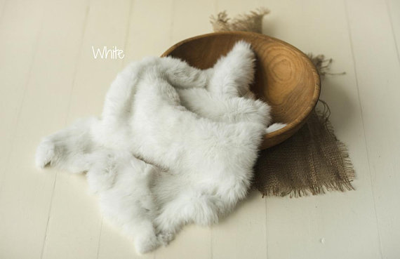 Mother & Kids Newborn Rabbit Fur Photography Prop Natural Bunny Fur Vintage Newborn Wool Layer Posing Wool Rug Baby Basket Stuffer Photo Props Baby Bedding