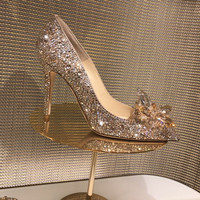 туфли же New Rhinestone High Heels Cinderella Shoes Women Pumps Pointed toe Woman Crystal Wedding Shoes 7cm 9cm heel Gold Silver