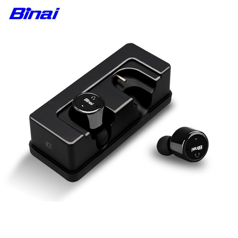 BINAI V1T 3D Stereo Wireless Bluetooth Earphone In-ear Sport Running Earphone with Mic Handfree Earbuds for Iphone for Huawei original xiaomi mi hybrid earphone in ear 3 5mm earbuds piston pro with microphone wired control for samsung huawei p10 s8