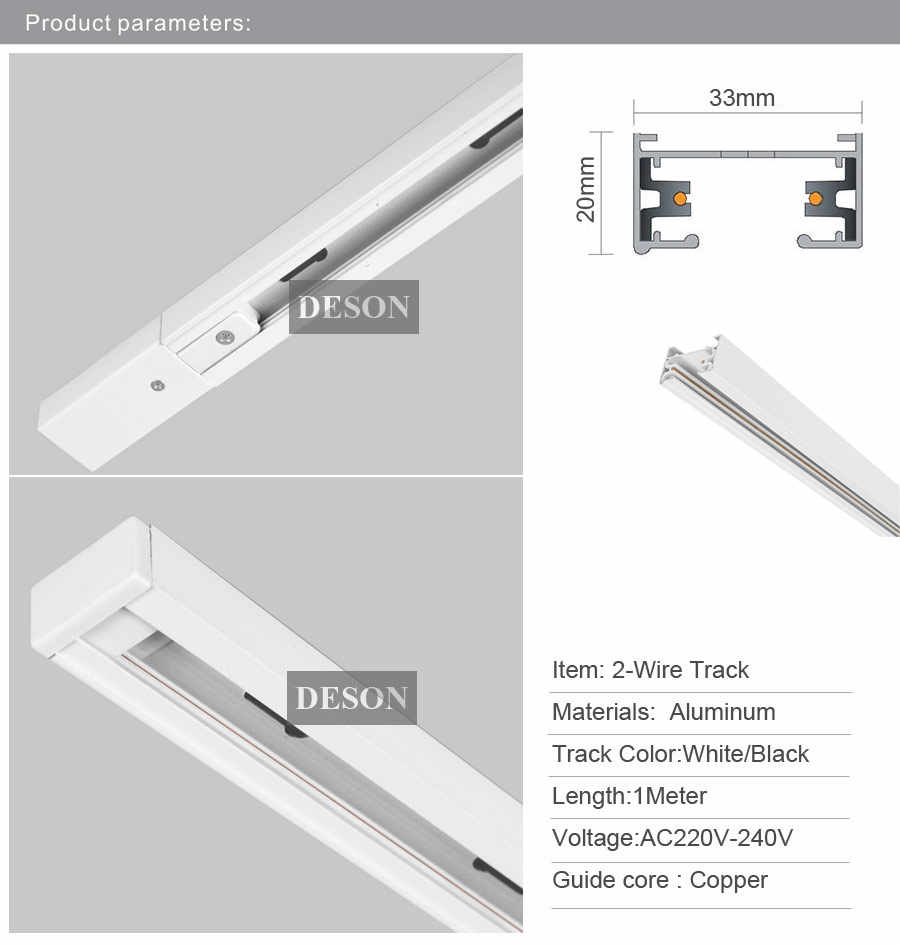 dhl 1m 2 wire single circuit aluminium track light rail lighting tracks spot light rail system  [ 900 x 946 Pixel ]