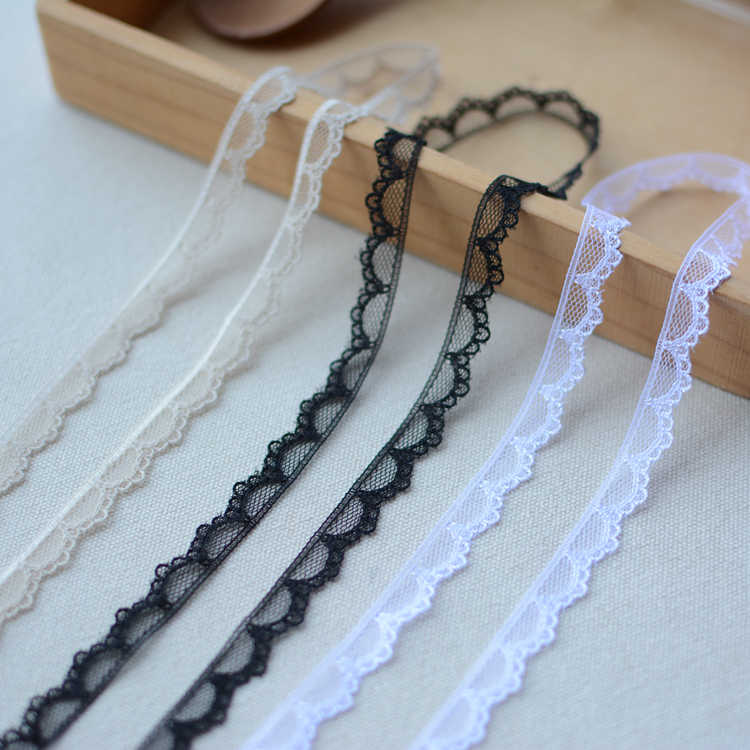 Latest Lace Ribbon Elastic Lace Trim Fabric 1cm Applique Wedding Dress Sewing Accessories Trimmings For Clothing dentelle LA44