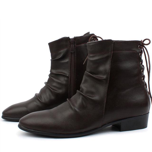 El Tamaño de EE.UU. 6-9 Negro de Cuero de LA PU de Encaje Hasta Vestido Formal Pointy Toe Botines Para Hombre de Moda Los Zapatos Oxford