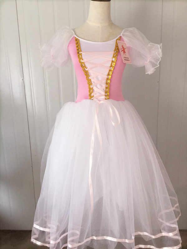 Взрослое розовое длинное балетное платье-пачка для девочек, профессиональное гимнастическое трико Жизель, белый Лебединое озеро, балетный костюм для женщин