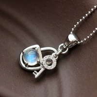 Wholesale Silver Handmade Natural Blue Moonstone Pendant Retro Thai Silver S925 Sterling Silver Key Lock Pendant Women