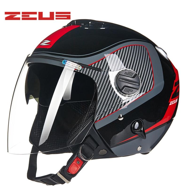 ZEUS Motorcycle Helmet double visor motorbike Helmet Retro Vintage casque moto Half face Motocross helmets yohe undrape face motorcycle helmet yh 936 open face motorbike helmets made of abs visor is for pc material 10 kinds of colors