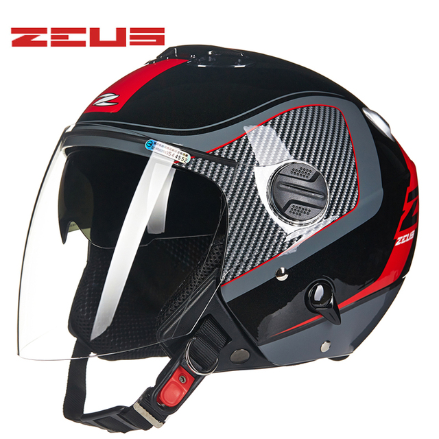f219f305 ZEUS Motorcycle Helmet double visor motorbike Helmet Retro Vintage casque  moto Half face Motocross helmets