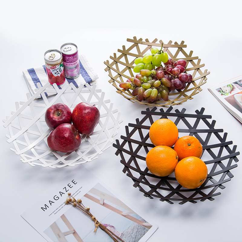 Nordic Creative Wrought Iron Fruit and Vegetable Snacks Storage Basket Home Organizer Bowl for Kitchen Table Decoration Tool