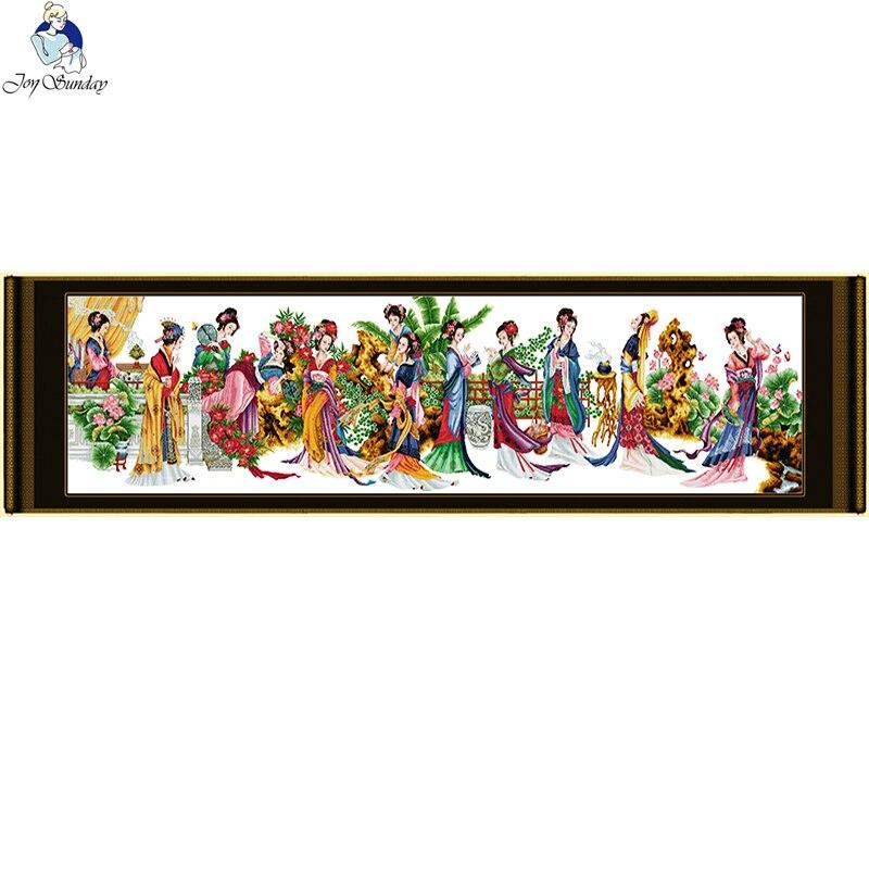 Joy Sunday douze Jinling dames modèles compté 11CT tissu imprimé 14CT toile DMC point de croix bricolage à la main décoration de la maison