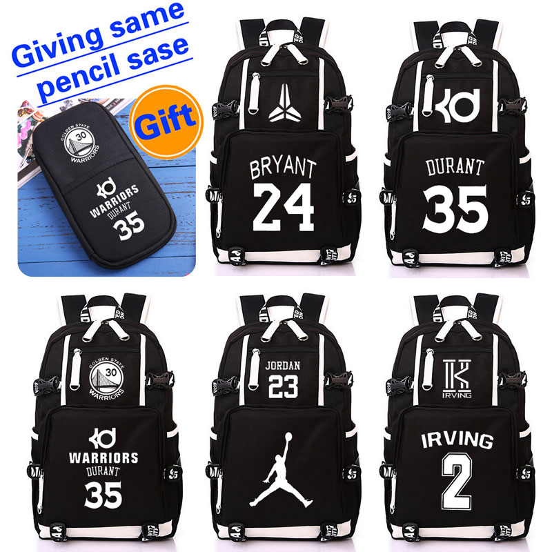02dd8beaf13b HOT SALE basketball star backpack KD WADE Kobe Irving Westbrook student  bookbag large Travel bag printing