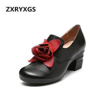 2019 Spring New Retro Flower Cowhide Leather Shoes Comfort Round Head Women High Heel Shoes Breathable Non-slip Fashion Shoes