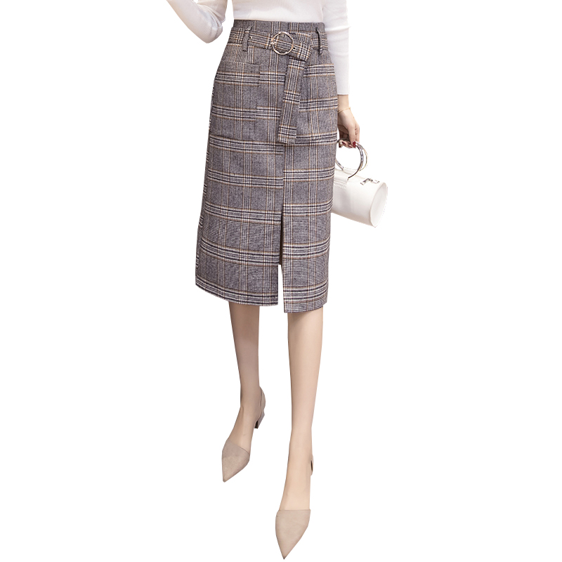 ab38b336d5a5c0 ... plaid skirts womens 2019 spring autumn high waist belted elegant office  work midi skirt wool saia jupe falda. Back to category. 39% off