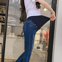 Summer Spring   Maternity   Belly Jeans Elastic Waist Hole Stretch Denim Pants Clothes for Pregnant Women Pregnancy Trousers