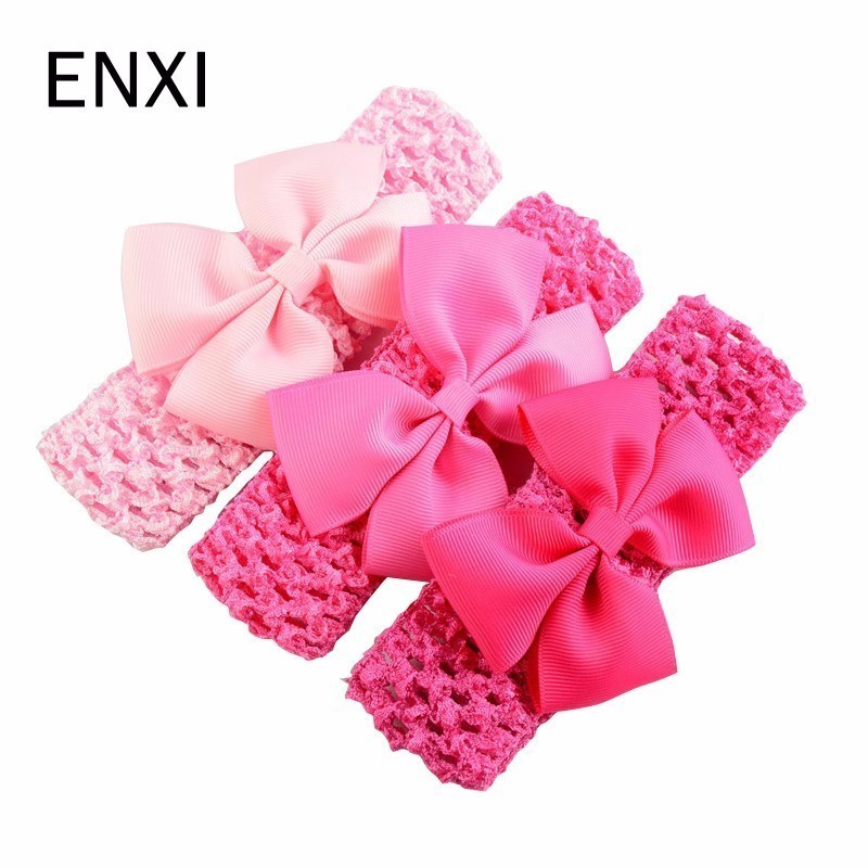 Random 3pcs/lot Baby Girls Elastic Flower Headband Soft Strenchy Bowknot Floral Headband Baby Headwear Girls Princess Hair Band plain headband 3pcs