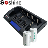 2 Pcs Soshine D/R20 Size Rechargeable Batteries NiMH 11000mAh high quality with Ni Mh/Ni Cd AA 9V D C Batteries Charger