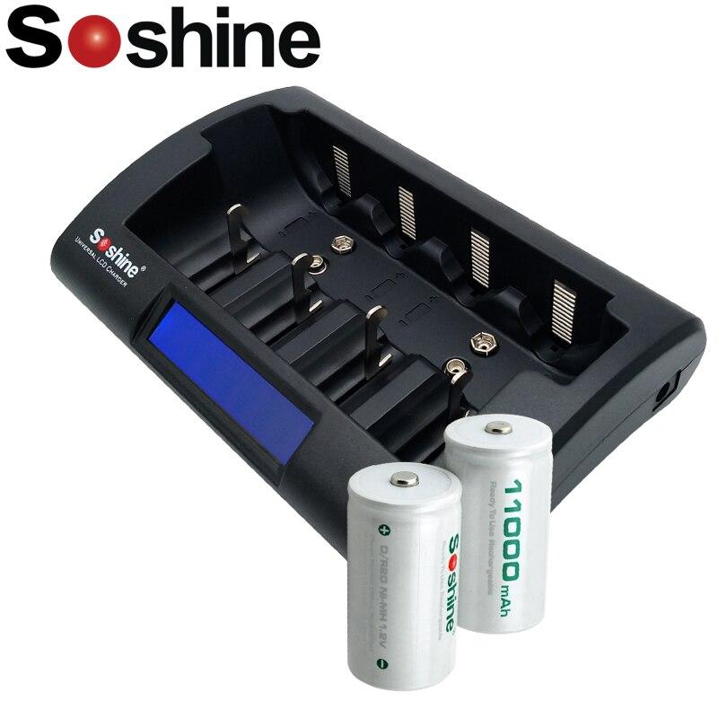 2 個 Soshine の D/R20 サイズ充電式電池ニッケル水素 11000 mah 高品質ニッケル水素/ニカド AA 9V DC バッテリー充電器  グループ上の 家電製品 からの 充電池 の中 1