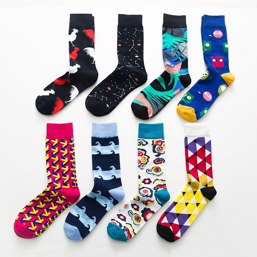 5 pairslot fashion colorful Happy Socks men Newly Cartoon Rooster Cloud Soft Breathable Cotton Short Socks Casual Funny Socks