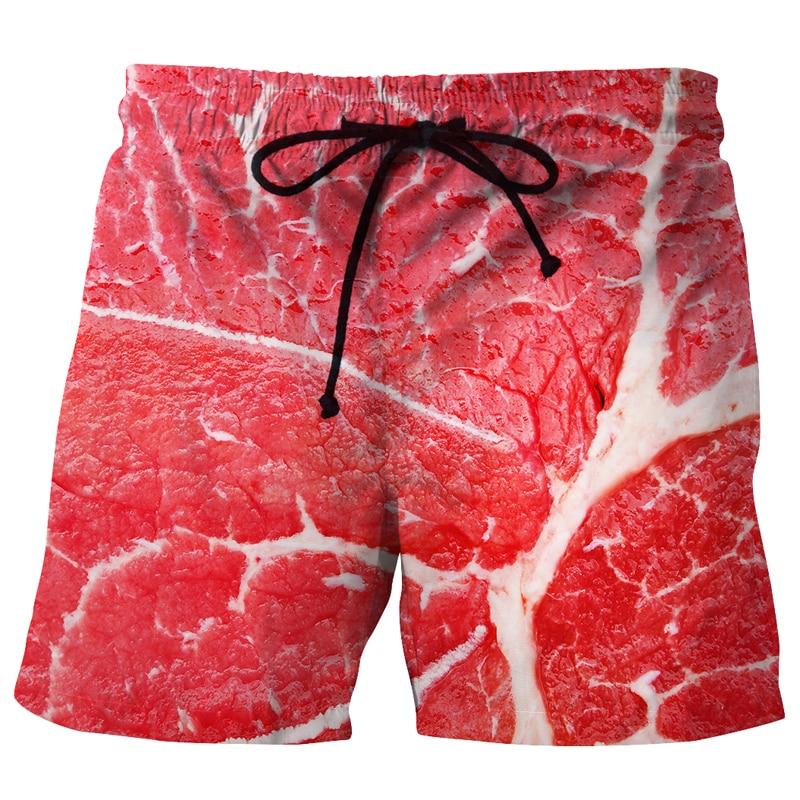 Creative Men Quick Dry Beach   Shorts   3D Meat Beef Fillet Print Polyester   Board     Shorts   Bermuda Praia Boys Summer Sunbathing Wear