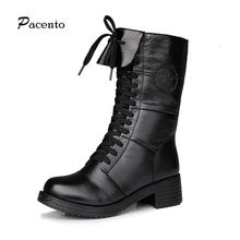 PACENTO Timber Winter Footwear Boots Leather Stockings Shoes Over Knee High Heels Ugs Australia Boots Women Shoes Botte Femme