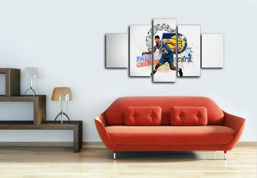 5 panel large HD printed canvas print art painting Paul George Indiana Pacers home decor wall art picture for living room F0389