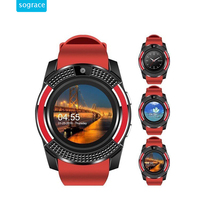 Câmera V8 Smartwatch Inteligente Bluetooth Assista Mulheres/Homens Relógio Do Telefone Chamada SIM TF Relógio Apoio BT 4.0 Para Android 2g Relógio Rodada